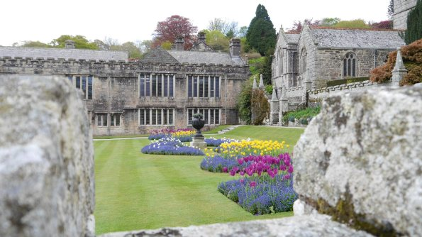 Lanhydrock through battlements