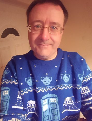 My Christmas jumper, modelled by me!